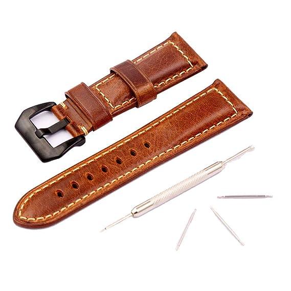 Reloj Correa De Cuero Para Hombre Reloj Panerai Repuesto Vintage Todo Tipo Accesorios Para Reloj Deportivo Tradicional 26mm Marrón: Amazon.es: Relojes