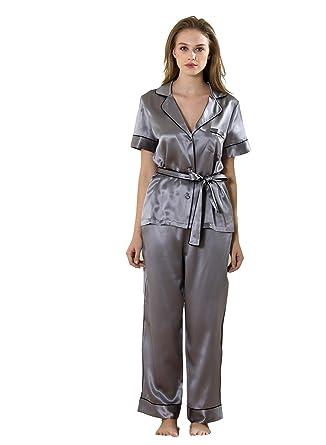 30d9d56d58 Vividmoo Women s 19 Momme Satin 100% Mulberry Silk Two Piece Wide Leg Bottom  Pajama Set