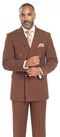 Men's Suits Brown Stripe Double Breasted 2 Piece Man Suit M2701 ...