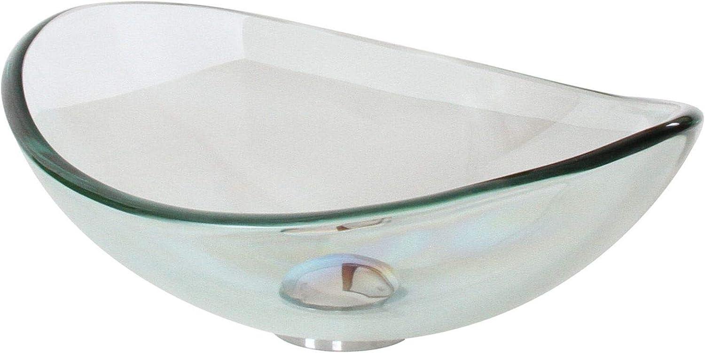 Elite Transparent Tempered Glass Oval Bathroom Vessel Sink Amazon Com