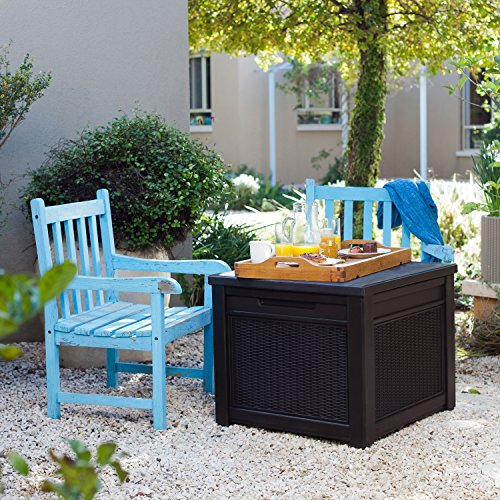 Keter 233705 55 Gallon Outdoor Rattan Style Storage Cube