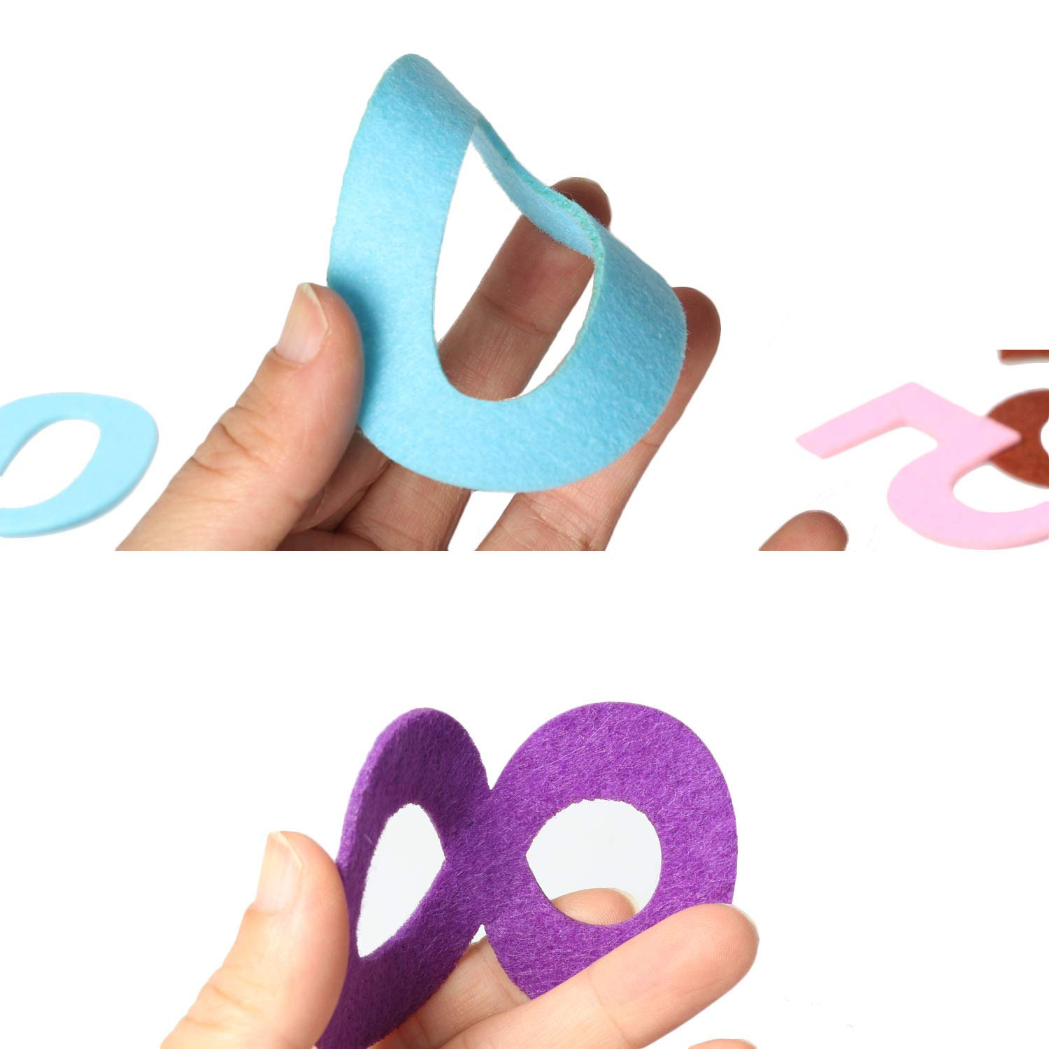5 Sets Assorted Bright Colors Party Room Banners Decoration School Projects RERIVER Felt Numbers 3.2-Inch Tall 50Pcs 0-9