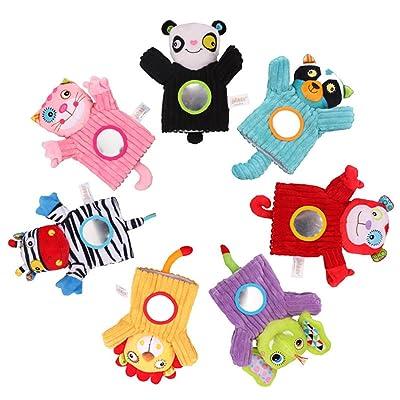 Animales de bebé Marioneta de mano Felpa Cascabeles Campana Espejo Mágico Dedos Suaves Juguetes Para la Educación Temprana León: Bebé