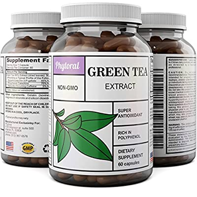 Natural Antioxidant Green Tea Extract – Pure 500 mg Fat Burner Capsules – EGCG Catechins Promote Healthy Heart – Best Caffeine for Weight Loss – Bodybuilding + Metabolism Pills – Phytoral
