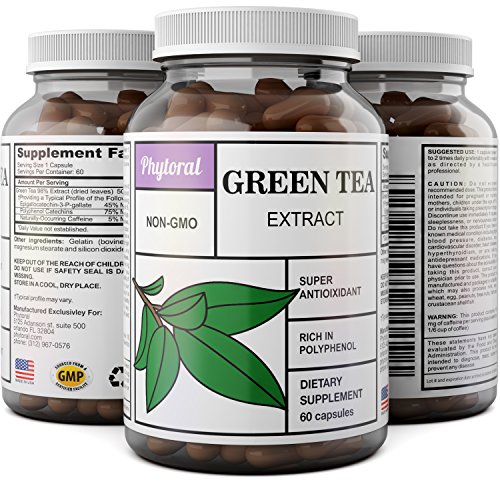 Pure Green Tea Weight Loss Supplement with EGCG Antioxidants - Natural Detox Healthy Diet Pills Boost Metabolism Burn Belly Fat Fast and Boost Energy for Men and Women - 60 Capsules by Phytoral by Phytoral