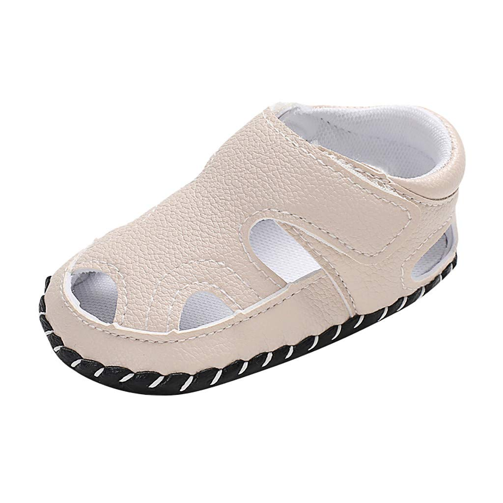 Sandals for Unisex Toddler,Jchen Newborn Baby Girls Boy Solid Color Soft Sole Single Shoes Sandals for 0-18 Months (Age:0~6 Months, White)