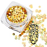 Aribelly Mixed Round Thin Nail Art Glitter Paillette Nail Tip Polish Decoration (Gold)