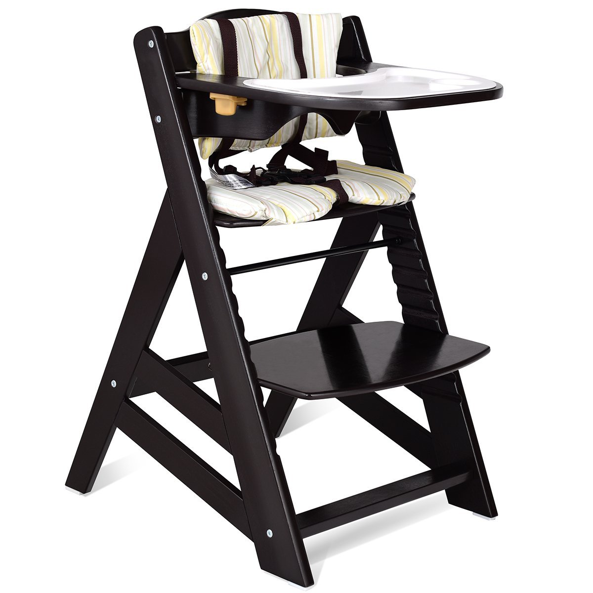 Costzon Wooden Highchair, Baby Dining Chair with Adjustable Height, Removable Tray, 5-Point Safety Harness, Padded Cushion, Perfect Toddlers Feeding Chair