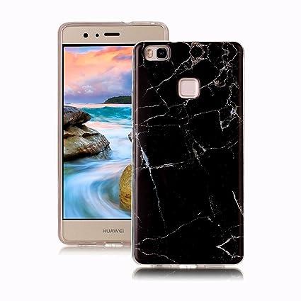 Yunbaoz Funda Compatible para Huawei P9 Lite Mármol, Diseño Mármol Carcasa Suave Goma Silicona Soft Marble Case Suitable for Huawei P9 Lite - Negro