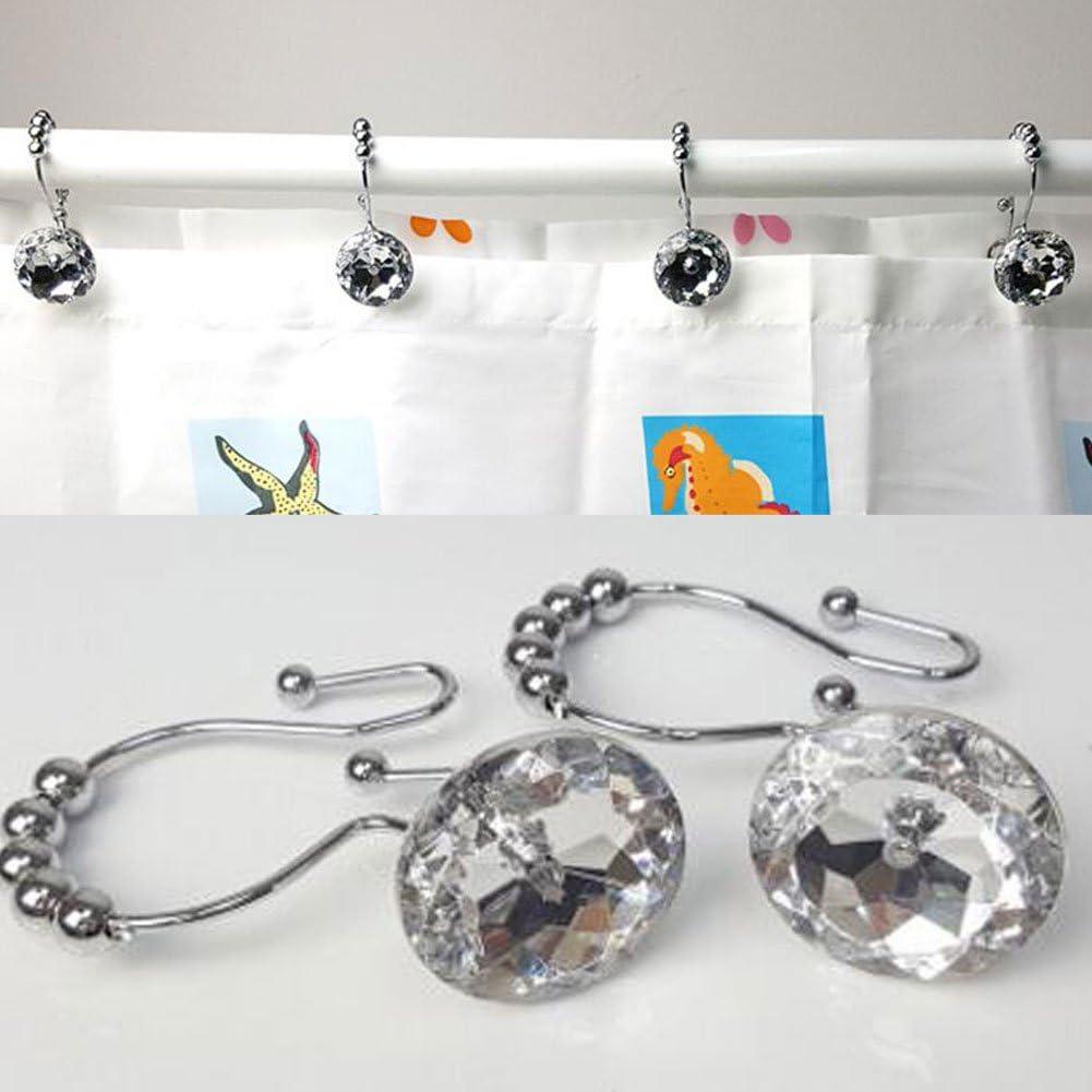 Rhinestone White Shower Window Curtain Double Hooks,Stainless Steel Rustproof Crystal Rhinestones Gem Hooks 12-Pack.