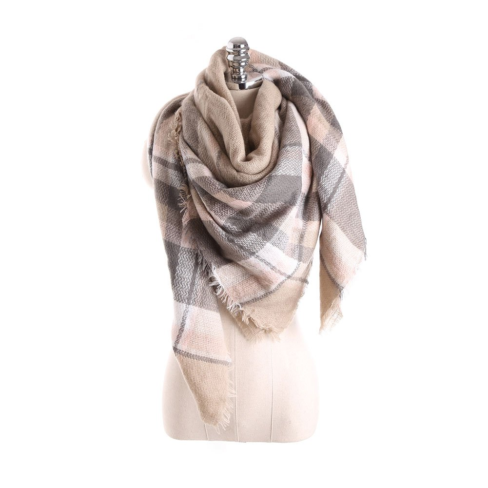 Womens Fashion Cashmere Long Scarf Wraps Wool Winter Houndstooth Shawl Scarves