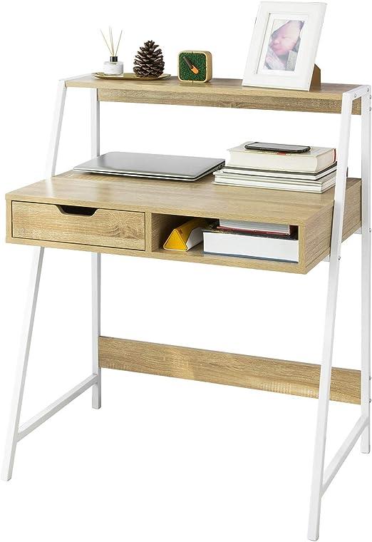 SoBuy FWT63-N Mesa de Escritorio Mesa de Ordenador con 2 cajones y ...