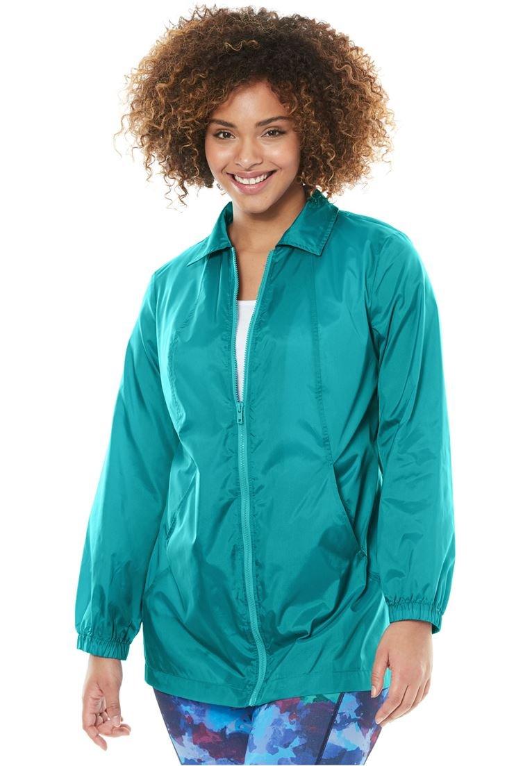 Women's Plus Size Nylon Jacket, Zip Front Style Waterfall,4X