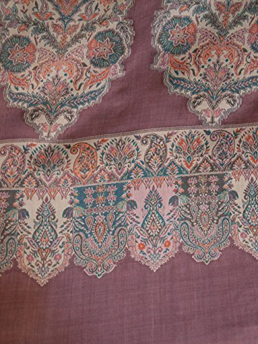 Wine Red Shawl Large Hand-Cut Kani Gold Jamavar Paisley Wool with Fine Details by Heritage Trading (Image #2)