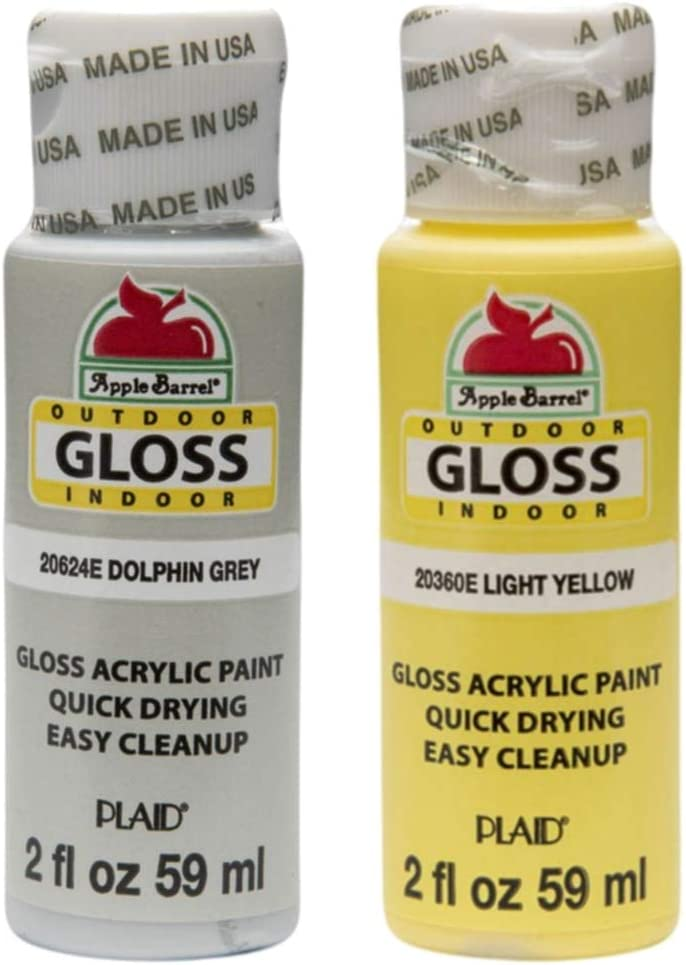 Apple Barrel Acrylic Paint Outdoor Indoor Gloss Set - Yellow and Grey (2 Ounces Each)