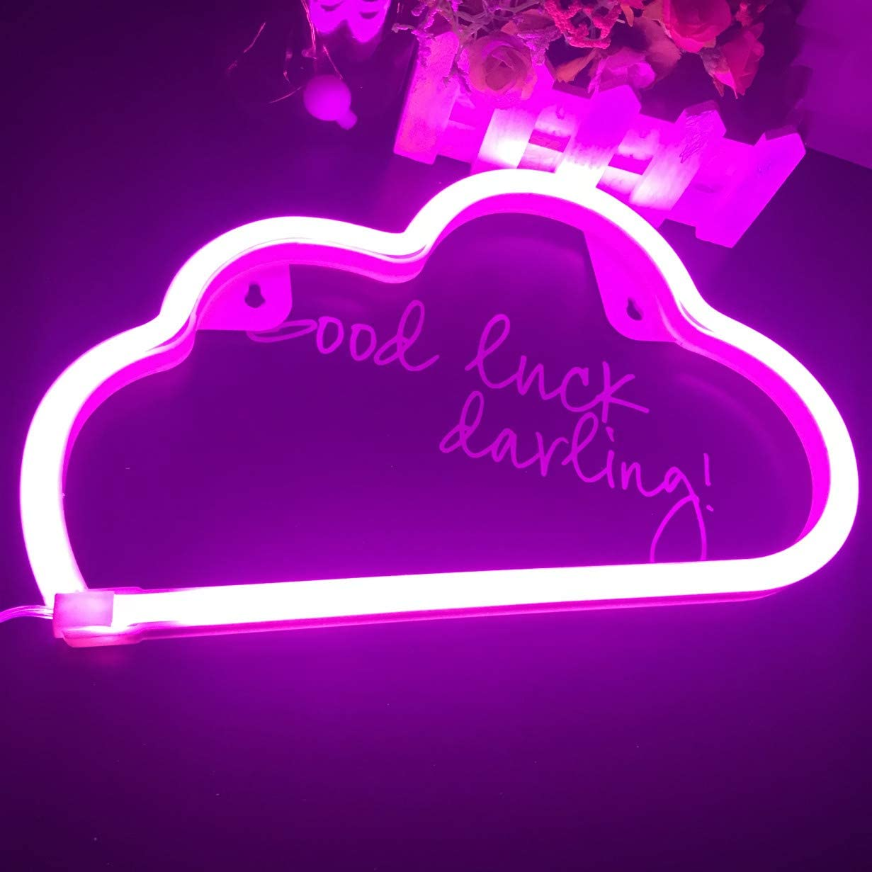Wedding Party Decor Living Room purple pink QiaoFei Neon Light,LED Cloud Sign Shaped Decor Light,Wall Decor for Chistmas,Birthday party,Kids Room