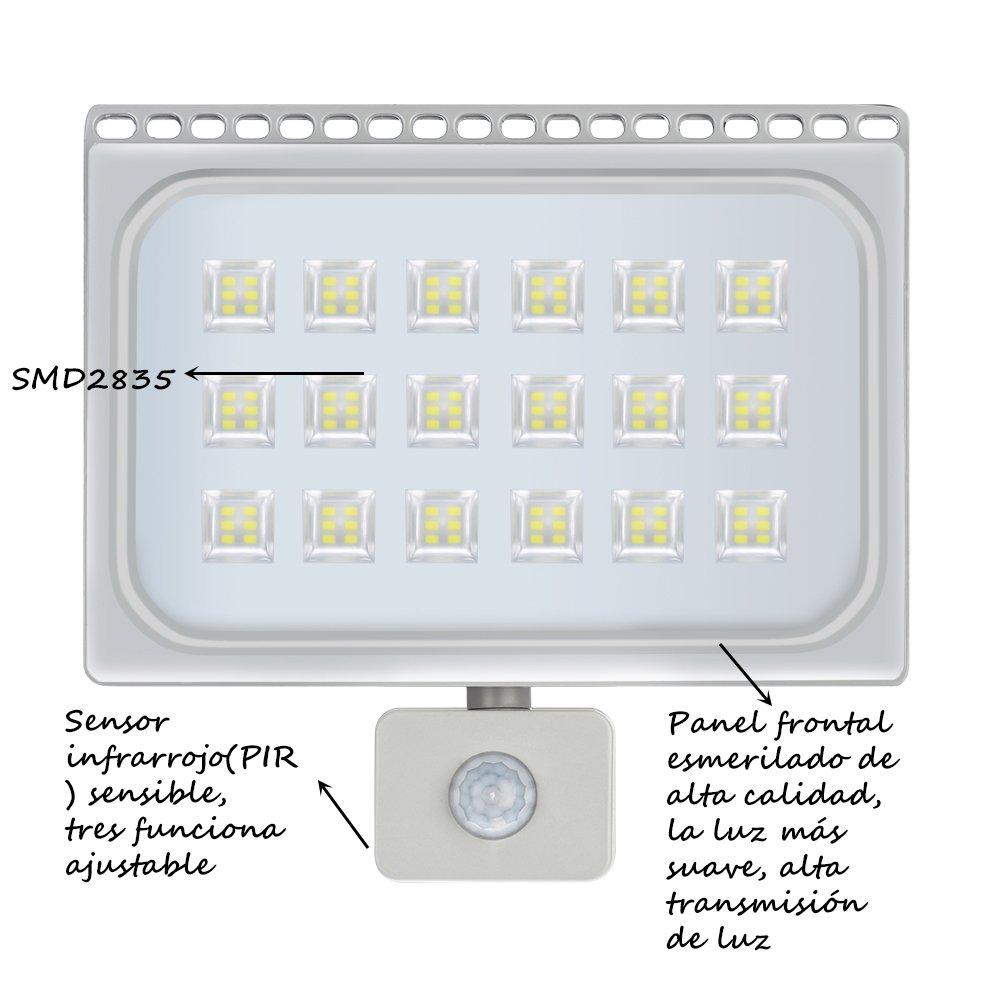 LED Lámpara Plana con Sensor de Movimiento(PIR), Foco IP66 Impermeable, Proyector con SMD2835 Chip, Luz Fría o Luz Cálida, 10w/20w/30w/50w/100w, ...