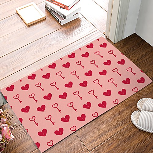 Non-slip Door Mat Entrance Rug Rectangle Absorbent Moisture Floor Carpet for Indoor Outdoor Cute Heart-shape Pattern Doormat 18x30 inch