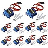 J-Deal® 10x Pcs SG90 Micro Servo Motor 9G RC Robot Helicopter Airplane Boat Controls