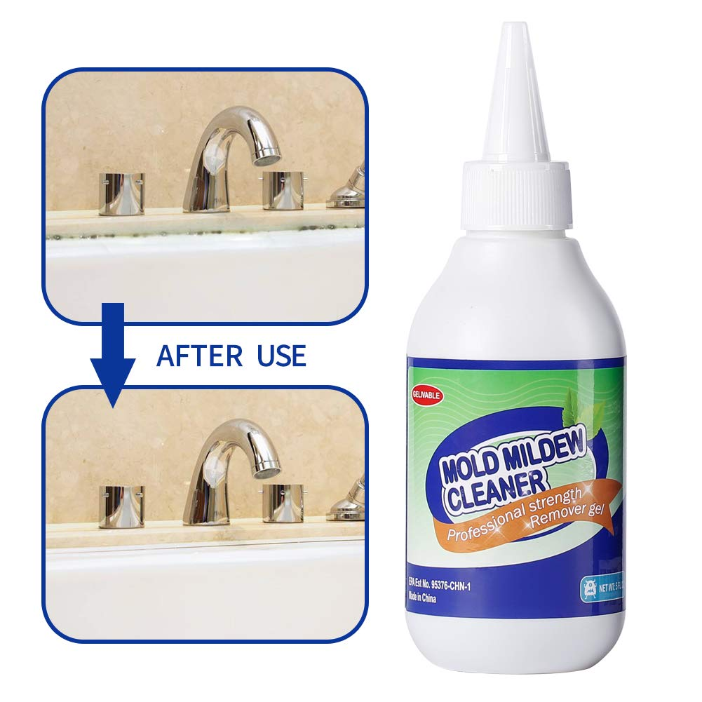 GELIVABLE Mold & Mildew Remover Gel Household Cleaner Wall Mold Cleaner for Tiles Grout Sealant Bath Sinks Showers - 5 Fl.Oz.