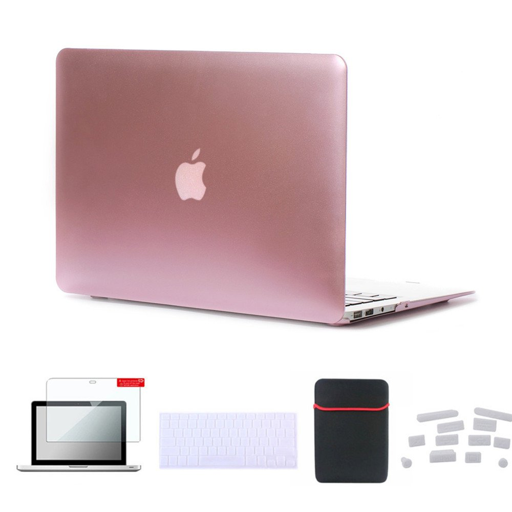"Se7enline MacBook Air 13 inch Accessories 5 in 1 Bundle Soft-Touch Plastic Hard Case Cover for MacBook Air 13"" A1369/A1466 Sleeve Bag, Keyboard Skin, LCD Screen Protector,Dust Plugs, Rose Gold"