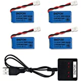 3.7V 380mah Lipo Battery with X4 Battery Charger for Controller of Drone HS230 GBlife Bounce Car TOZO Q2020 X4 H107C…