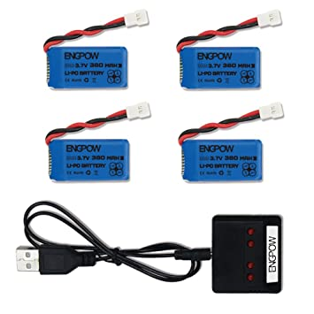 3.7V 380mah Lipo Battery with X4 Battery Charger for Controller of Drone HS230 GBlife Bounce Car TOZO Q2020 X4 H107C H107L H107D H107P H108 Holy Stone ...