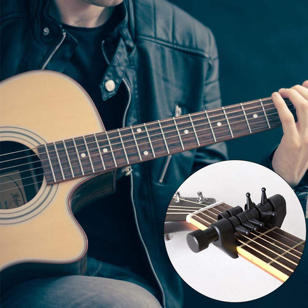 Volwco cejilla para afinador de Guitarra, multifunción, 6 Cuerdas de cejilla Abiertas, Accesorio Universal para Guitarra acústica, Cambia la afinación sin ...