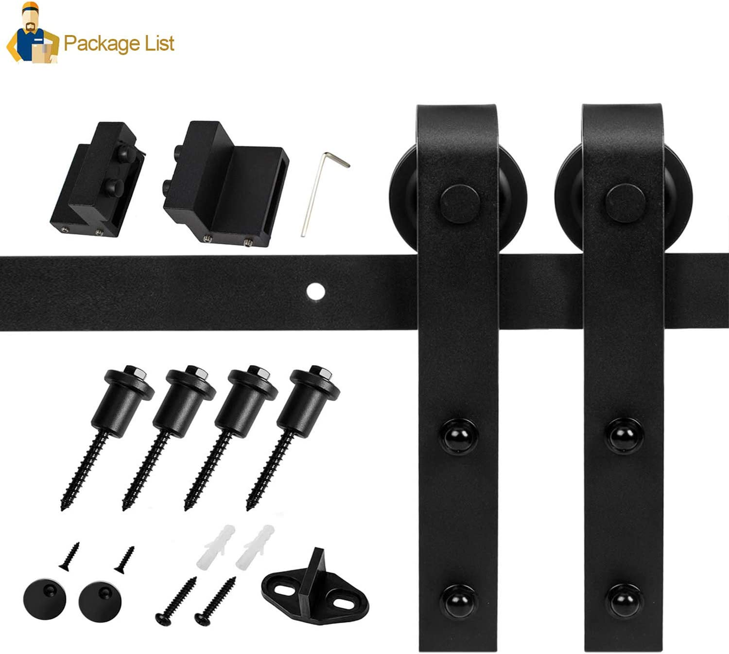 EaseLife 5 FT Heavy Duty Sliding Barn Door Hardware Track Kit,Ultra Hard Sturdy,Slide Smoothly Quietly,Easy Install,Fit 26~30 Wide Door 5FT Track Single Door Kit