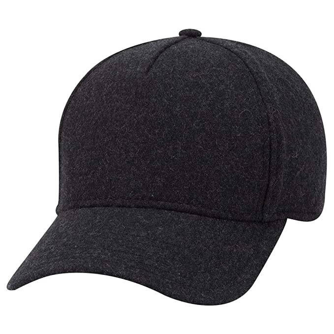bf517b6b9693e0 Armycrew 5 Panel Low Profile Melton Wool Blend Structured Baseball Cap -  Heather Black