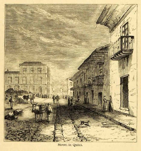 1875 Lithograph Quito Cityscape Ecuador City Andes Town Street Donkey Balcony - Original Lithograph from PeriodPaper LLC-Collectible Original Print Archive