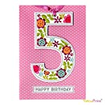CHILDRENS ~ AGE 5TH NUMBER 5 GIRL PINK BIRTHDAY GREETING CARDS - LOLLIPOP