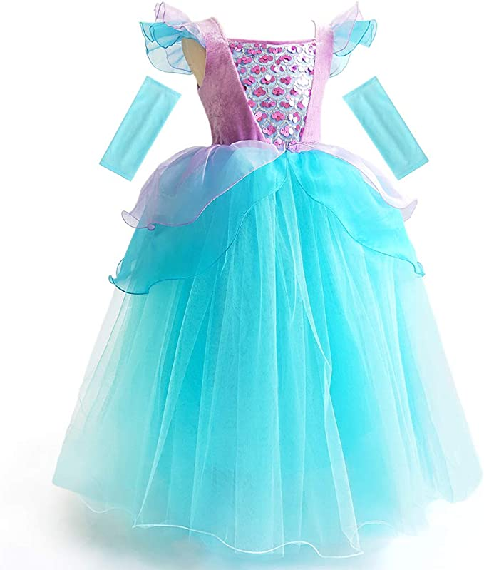 AmzBarley Little Mermaid Costume Girls Dress Up Princess Ariel Birthday Cosplay Party