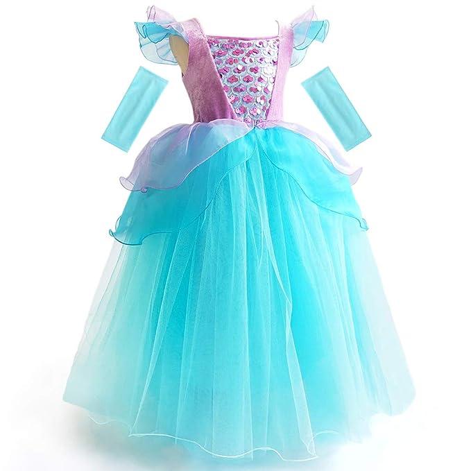 CQDY Disfraz de Ariel de la Sirenita para niñas, Disfraz de Princesa para Halloween, Cosplay, Disfraz, Fiesta de cumpleaños, etc.