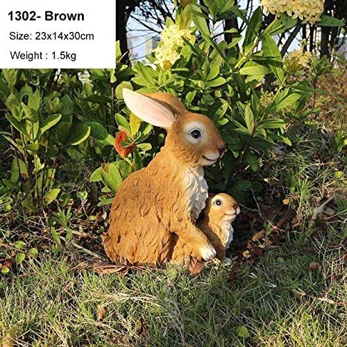 Esculturas de jardín – Lindo Conejo de simulación decoración del hogar Sala de Estar Adornos jardín césped Conejo Escultura Manualidades Animales Miniatura Figuras Regalo, 1302-Brown: Amazon.es: Jardín