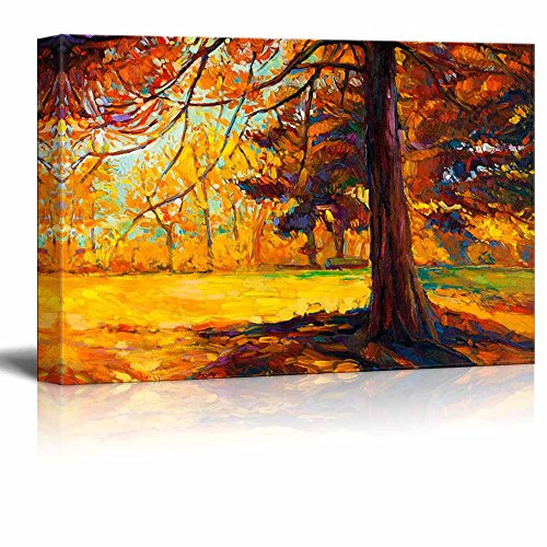 Original Oil Painting Showing Autumn Landscape Big Old Tree in the Forest