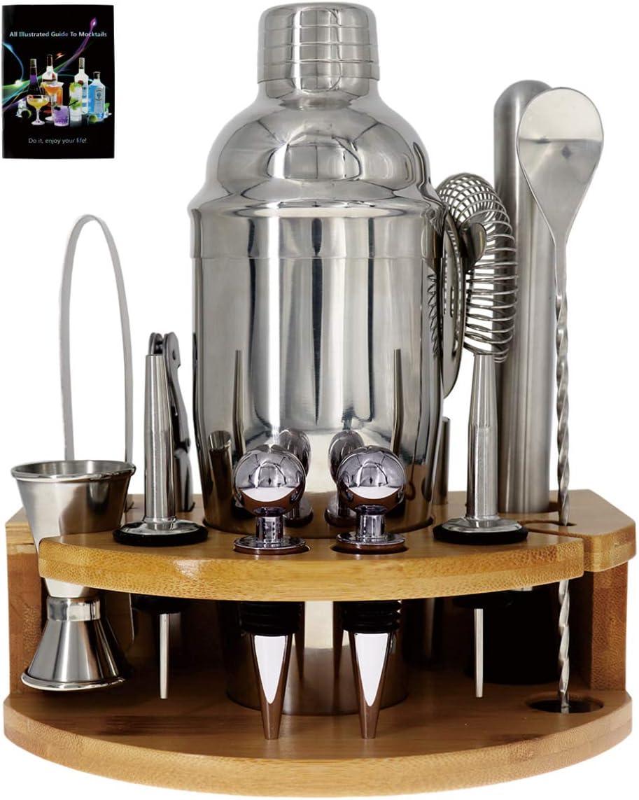 Cocktail Shaker Mixology Bartender Kit, 25oz Stainless Steel Bar Set With Bar Accessories Martini Drink Shaker Muddler Jigger Cocktail Set For Bartender Gifts Home Bars