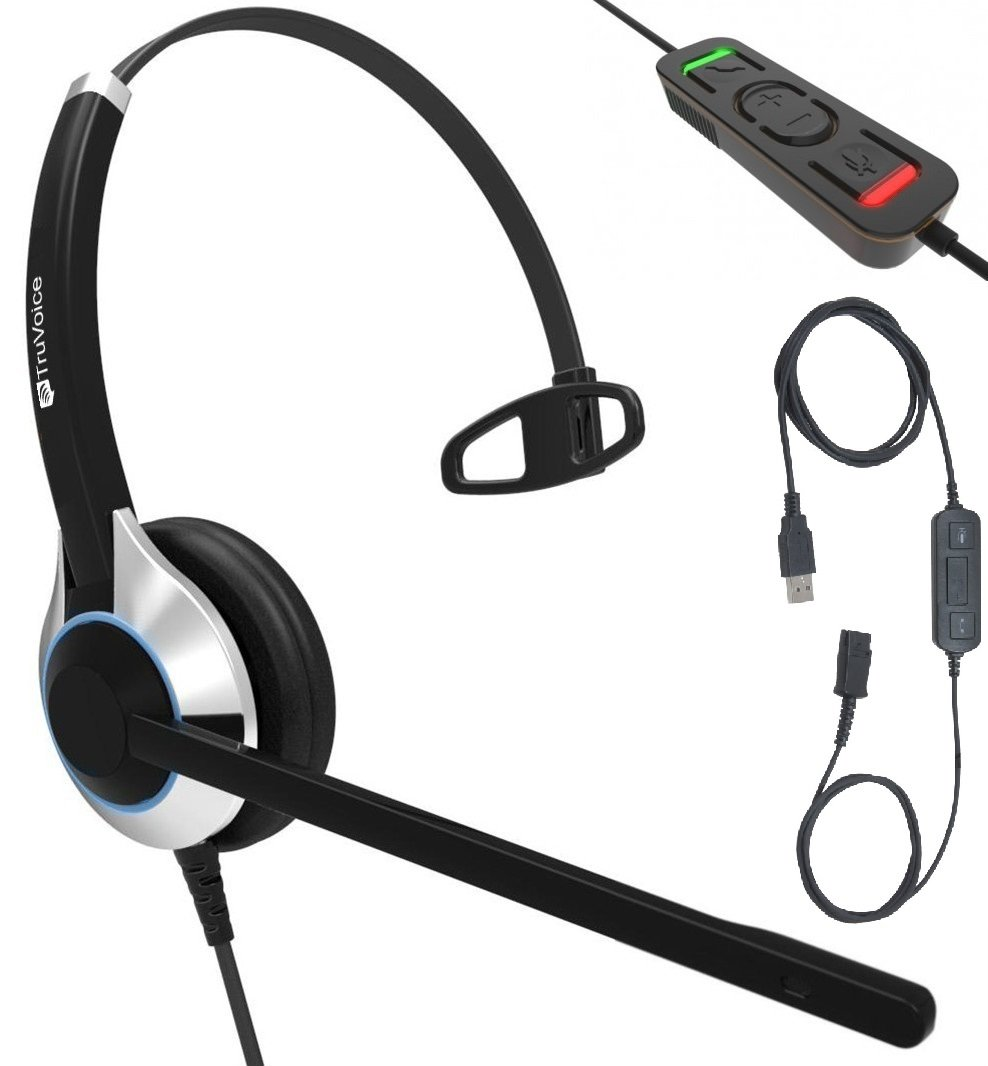 TruVoice HD-500 Deluxe Single Headset With Noise Canceling Mic and Detachable USB Adapter Cable With Call Controls and Mute Included (For USB Softphones, Laptops and Computers) Skype Compatible