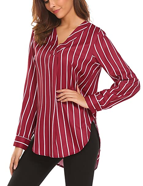 Sherosa Womens V Nek Striped Cuffed Long Sleeve Casual Blouse Ladies Tops  at Amazon Women s Clothing store  2fb21607178