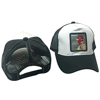 560521fa765de Amazon.com: linlin Unisex Animal Embroidery Patch Cotton Mesh Baseball Cap  Trucker Hat Snapback Rooster White+Black: Home & Kitchen