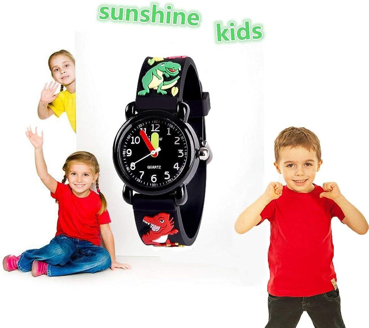 SUPZOE Montre étanche 3D pour enfants Motif dessin animé Dinosa-black.
