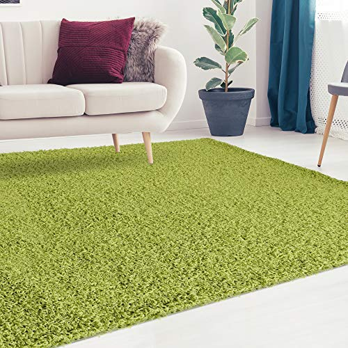 iCustomRug Cozy and Soft Solid Shag Rug 5X7 Lime Green Ideal to Enhance Your Living Room and Bedroom Decor