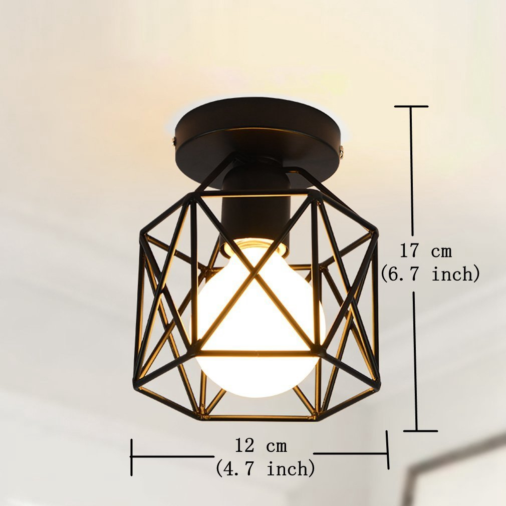 Marsbros Retro Vintage Industrial Mini Painting Metal Flush Mount Ceiling Light Fixture Pendant For Living Room Bedroom Dining Kitchen Bathroom