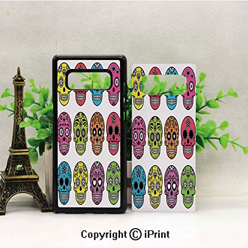 Case for Galaxy note8,Ornate Colorful Traditional Mexian Halloween Skull Icons Dead Humor Folk Art Print Shockproof Series TPU Bumper Protective Case for Samsung Galaxy note8, 2017 Release Print -