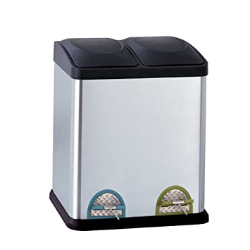 Organize It All Dual Compartment Step On 8 Gallon 30 Liter Recycling Trash Can Stainless Steel Amazon In Home Kitchen