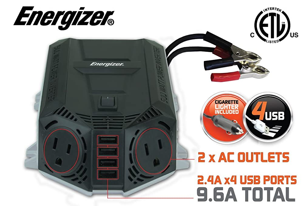 39.97 Deal ends 5-30-17 ENERGIZER 500 Watt Power Inverter +48W USB 12V DC to AC + 4 x 2.4A USB charging ports Total 9.6A
