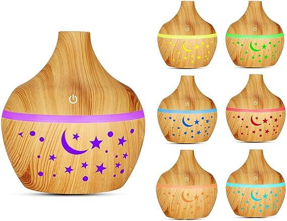 エッセンシャルオイルディフューザー、300 ml超音波アロマディフューザー木目アロマセラピーディフューザー、7色の夜の部屋の装飾用(軽い木目)