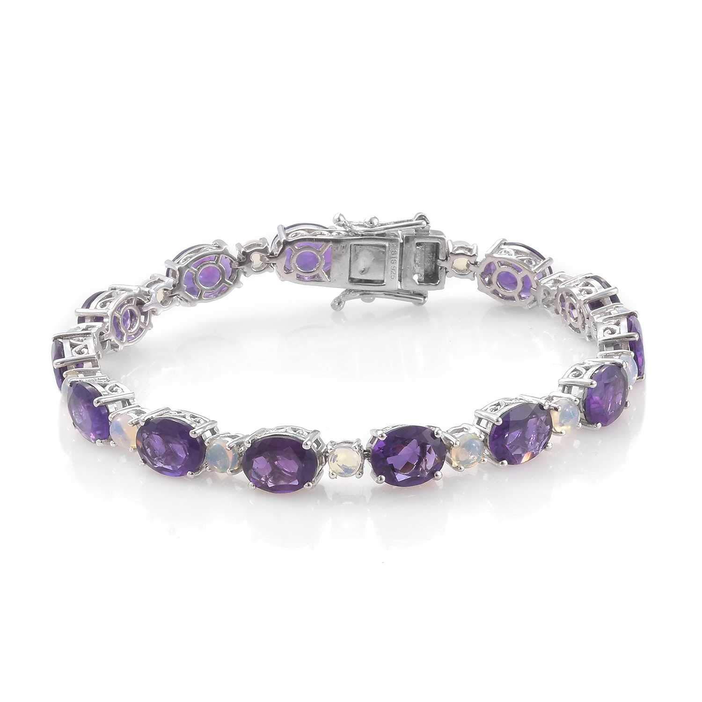 925 Sterling Silver Platinum Plated Amethyst Opal Tennis Bracelet for Women 7.25''