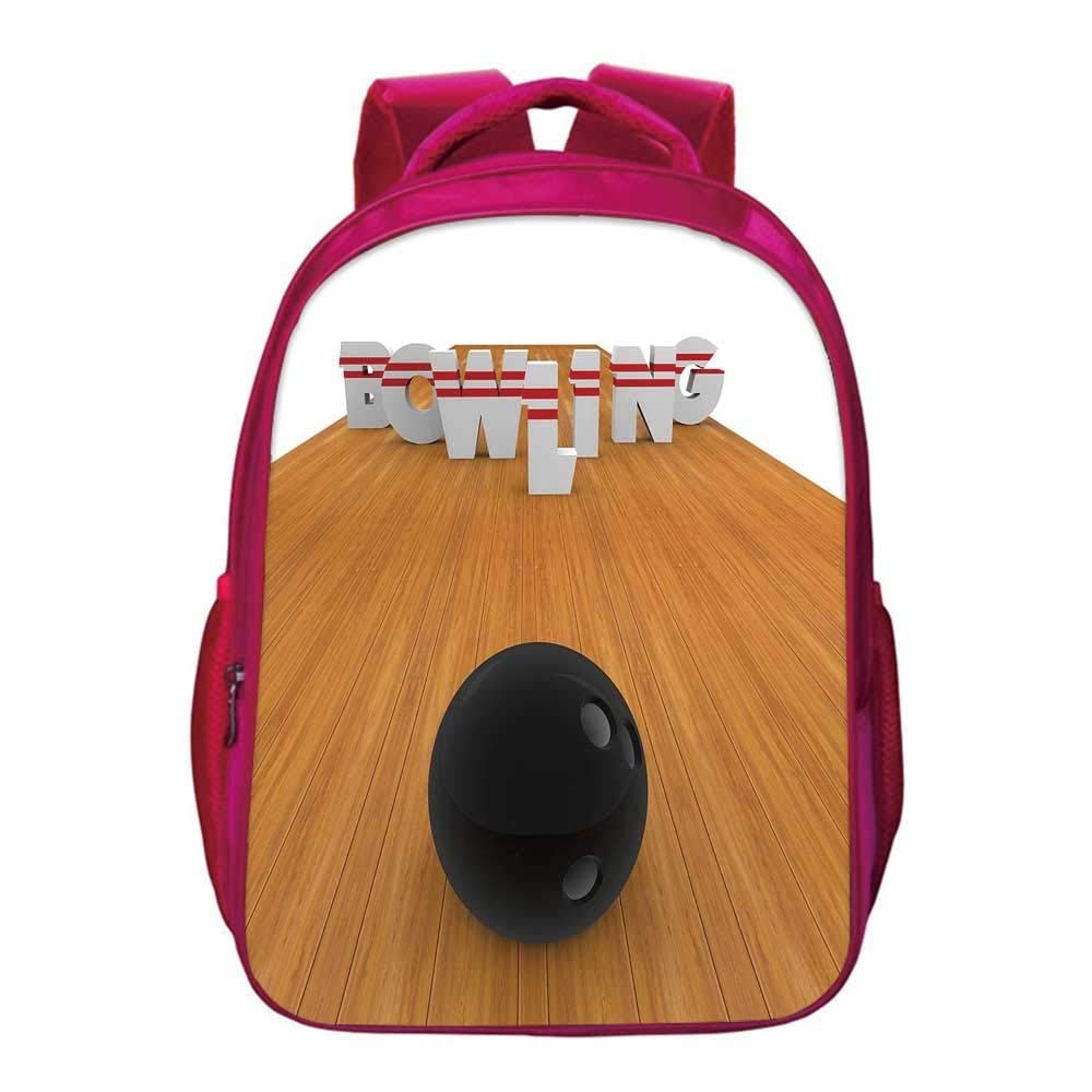 Bowling Party Decorations Printing Backpack,Bowling Alley with Skittles and Ball in Position Decorative for Kids Girls,11.8''Lx6.3''Wx15.7''H by YOLIYANA