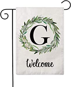 ULOVE LOVE YOURSELF Welcome Decorative Garden Flags with Letter G/Olive Wreath Double Sided House Yard Patio Outdoor Garden Flags Small Garden Flag 12.5×18 Inch